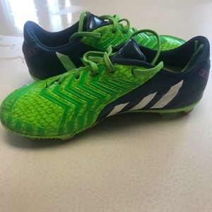 Adidas Blue and Green Cleats- size kids 2.5